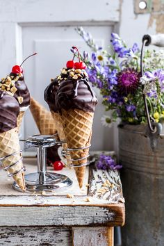 Hot Fudge Brownie and Double Scooped Ice Cream Sundae High Hat Cupcakes...in a Cone! | halfbakedharvest.com