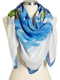 Women's Gauze Watercolor-Print Scarves