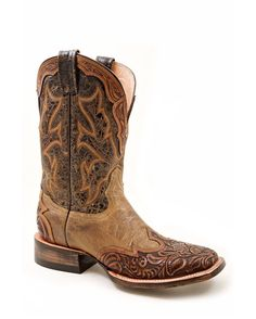 Stetson Boots Women's Two Tone Brown Hand Tooled Wingtip With Crown Cowgirl Boot  http://www.countryoutfitter.com/products/37103-womens-two-tone-brown-hand-tooled-wingtip-with-crown-boot