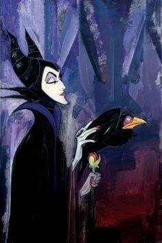 """Maleficent"" by Jim Salvati - Limited Edition of 50 on Hand-Embellished Canvas, 24x16.  #Disney #Maleficent #SleepingBeauty #DisneyFineArt #JimSalvati"