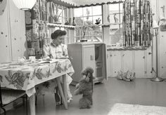"Los Angeles circa 1952. ""Actress Betty White at home with her dog."" Pinned for you, @coliebearz"