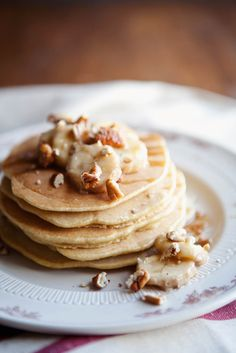 Roasted banana whole wheat pancakes