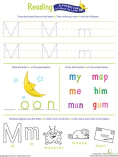 Worksheets: Get Ready for Reading: All About the Letter M...site has tons of free printables!