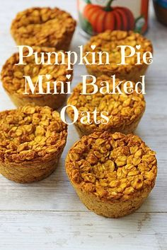 Mini baked oats! Pumpkin baked oat cups...perfect for a handy fall breakfast! #vegan & #glutenfree once made with gluten free oats!