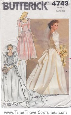 Butterick 4743 Sarah Ferguson Duchess Royal Historical Costume Vintage 1980s Prom Dress Evening Ball Gown Formal Wedding Bridal Juniors Women's Misses' sewing pattern @TimeTravelStyle #timetravelcostumes