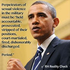 Obama on military perpetrators of sexual violence.