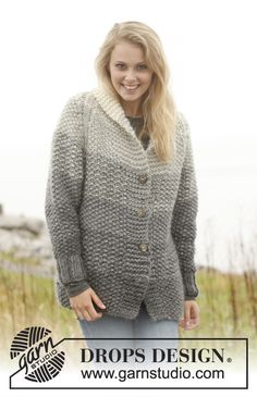 "Grey sunset jacket - Gebreid DROPS vest met strepen in gerstekorrel en raglan van ""Eskimo"". ~ DROPS Design"