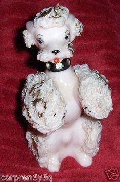 Vtg Porcelain Ceramic Pink Spaghetti Poodle Figurine Rhinestone Collar Puppy Dog on eBay.