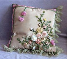 almohadon con, needl work, silk ribbon, ribbon bordado, con rosa, ribbon embroideri, ribbon embrioderi