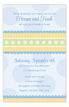 Gingham and Dots Blue Invitation