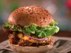Panko-Crusted Portobello Mushroom Burger Recipe : Jeff Mauro : Food Network - FoodNetwork.com