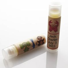Customized lip balm tubes for a baby shower.  #lipbalm #babyshower