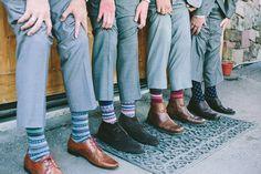 colorful groomsman socks http://www.weddingchicks.com/2013/09/03/rubywood-house/