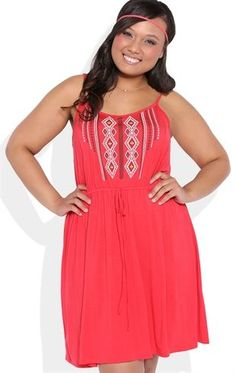 Deb Shops Plus Size A-Line Dress with Embroidered Bodice