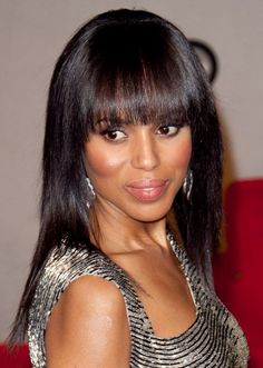 Kerry Washingtons sleek hairstyle with bangs