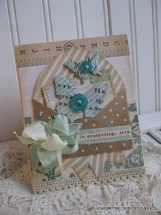 shabby chic butterflies card- butterflies flying out of envelope card- IN EVERYTHING, LOVE handmade card