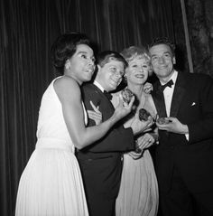 "Diahann Carroll poses with her Tony for ""No Strings"" (1962) with fellow winners, Robert Morse (""How to Succeed in Business Without Really Trying""), Margaret Leighton (""Night of the Iguana""), and Paul Scofield (""A Man for All Seasons"") at the Waldorf-Astoria on April 29, 1962. Photo: Corbis."