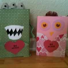Valentines Day Boxes made from cereal boxes