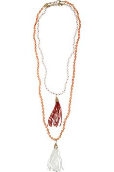 { Himalaya set of two gold-dipped agate necklaces }