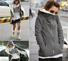 Fashionable Gray Comfy and Cozy Hoodie with T-Shirt, Short and Boots