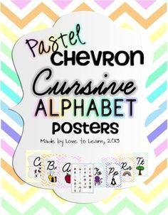 Great Cursive Alphabet Posters - Pastel Chevron