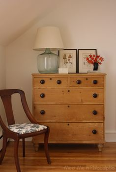 Antique 6-drawer English pine chest with demijohn lamp