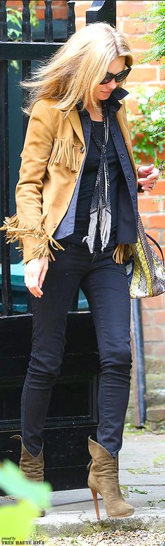 Kate Moss in a Bohemian flair fringe jacket