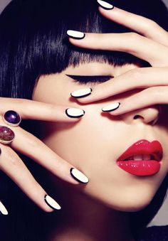 nail polish, nail arts, black white, red nails, red lips