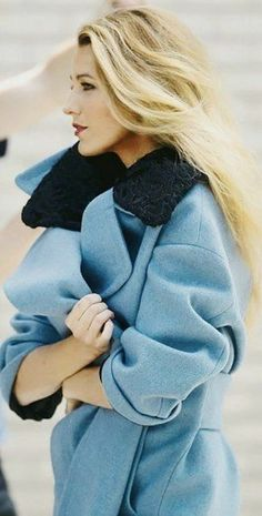 Blake Lively in baby blue oversized coat