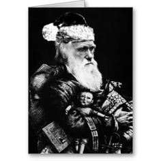 The number 1 atheist Christmas card, featuring Charles Darwin as Santa Claus.