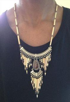 Vintage Aztec Navajo Style Bamboo Necklace