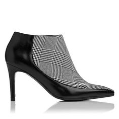 LK BENNETT | Amanda pointed ankle boot in black and white | Kid leather upper (although the tartan certainly ^looks^ like fabric), leather lining and sole | Heel height: 9cm | £250