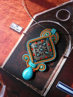 Soutache and filigree pendant designed by Cheryl Rabe of Stoned Cherry