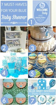 7 must-haves for your baby blue boy baby shower, including invitations, cupcake ideas, party supplies, diaper cakes, and more! | CatchMyParty.com