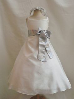 Flower Girl Dress IVORY w/ Silver CO8 Wedding Children Easter Bridesmaid Communion Toddler Silver Red Cherry Red Apple Purple Plum Pink on Etsy, $36.00