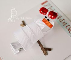 snowman hair clip tutorial