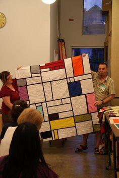 Mondrian-inspired back of Paul's Bottled Rainbows quilt.