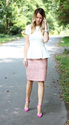 peplum, pink, pencil skirt. fabulous. corporate fashion. CORMONY.