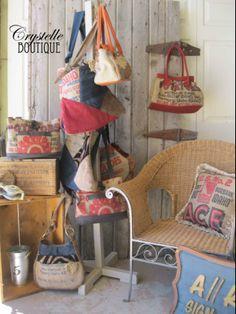 LOTS of burlap potato sack sack purses!