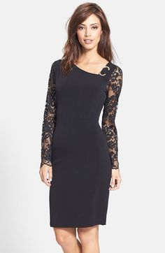 love the lace sleeves on this sheath dress