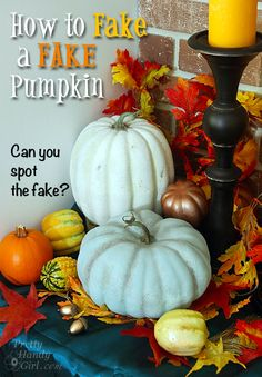 Go ahead and buy those neon orange fake pumpkins. I'll show you how to faux paint them to look like real white and blue pumpkins. Fool your friends, save money.