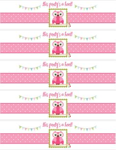themed birthday parties, free owl printables, owls free printables, 1st birthday, owl water bottle labels, owl birthday free printables, bottle owl labels, parti printabl, owl parti