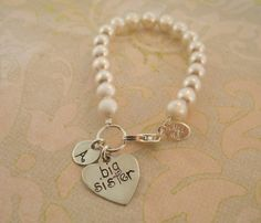 Big Sister Swarovski pearl Initial bracelet/ BIG by MayaBelle, $39.00