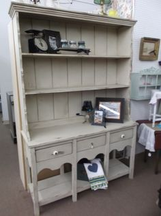SOLD - Primitive pine hutch with 3 drawers & open shelves for display - painted with cream chalk paint with dark wax finish & distressed to give it a nice shabby chic look.  ***** In Booth E8 at Main Street Antique Mall 7260 E Main St (east of Power RD on MAIN STREET) Mesa Az 85207 **** Open 7 days a week 10:00AM-5:30PM **** Call for more information 480 924 1122 **** We Accept cash, debit, VISA, MasterCard or Discover.