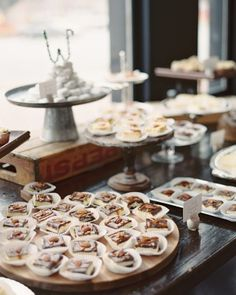 "Cheesecake squares in original, turtle, and salted caramel decorated this dessert table. See the ""Pastry Party"" in our A Romantic, Rustic Wedding in Columbia, South Carolina gallery!"