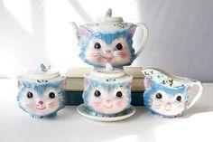 Vintage 1960's  Tea Set  Sugar  Cream  by PomegranateVintage, $450.00