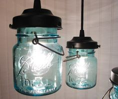 Vintage BLUE Canning Jar CHANDELIER Created NEW by LampGoods