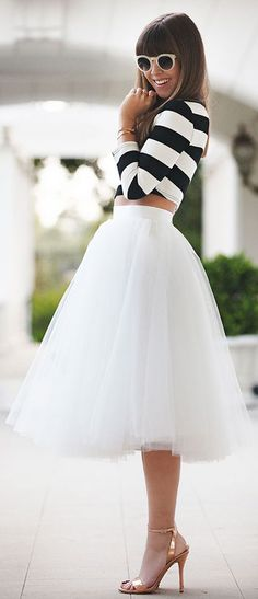 Space 46 White Tulle skirt. Wouldn't be able to wear it but how cute! tutu skirts, midi skirts, tull skirt, tulle skirts, crop tops, white tulle skirt, black white, tulle skirt outfit, stripe