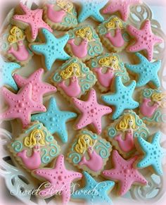 Mermaid and starfish cookies - for sale on Etsy