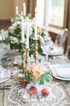peach and aqua, photo by Chantal Lachance-Gibson Photography http://ruffledblog.com/first-look-inspired-scottish-wedding #tablescape #weddingideas